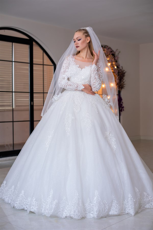 Daffodil-Long Sleeves Lace Ball Gown Wedding Dress