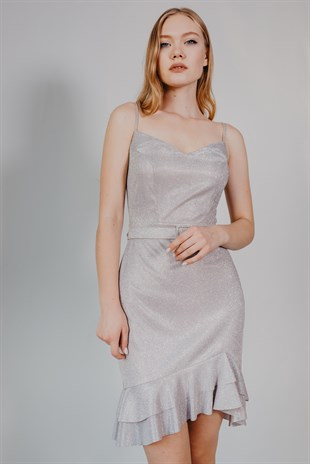 Thin Strapped Belt Detailed Grey Cocktail Dress
