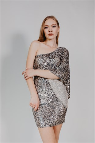 Leopard Sequin Silver Cocktail Dress