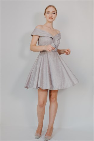 Madonna Collar Grey Mini Cocktail Dress