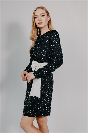 Polka Dot Long Sleeved Bow Detail Cocktail Dress
