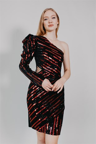 Sequin Bordeaux striped Cocktail Dress