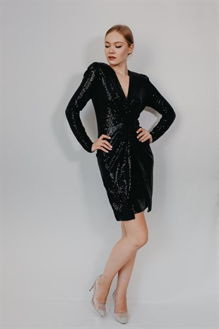 Sequin Black V collar coctail dress