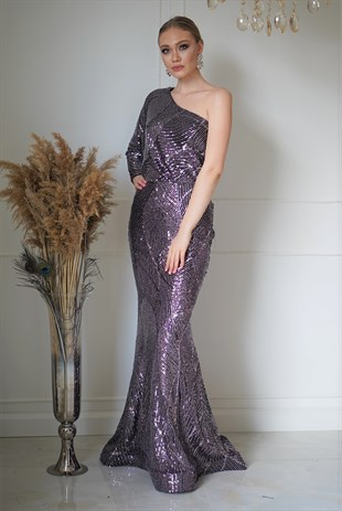 Sequin One Armed  Evening Dress