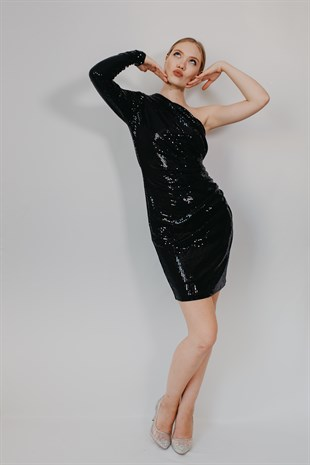 Sequin One Armed  Black Evening Dress