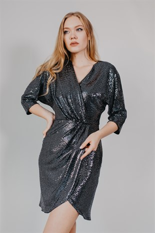 Sequin Long Sleeved Dark Grey Cocktail Dress