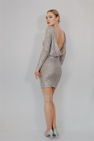 Cowl Back Neck Silver Cocktail Dress