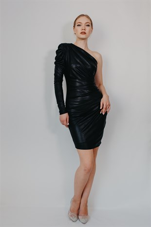 One Armed Black Cocktail Dress